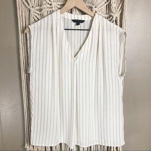 Banana republic white striped tank top blouse sz S